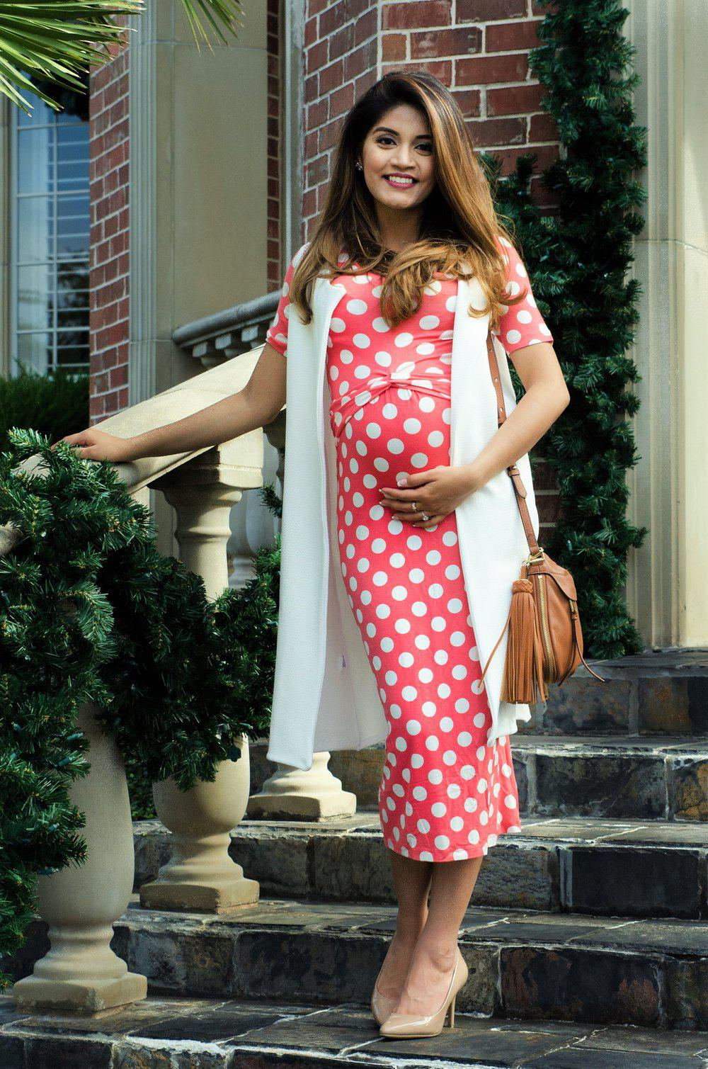 Polka dot maternity dresses 2017 black blue red pink pink polka dot maternity dress ombrellifo Gallery